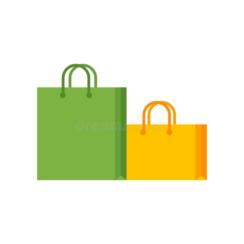 Ícone do saco de compras isolado no fundo branco ilustração do vetor