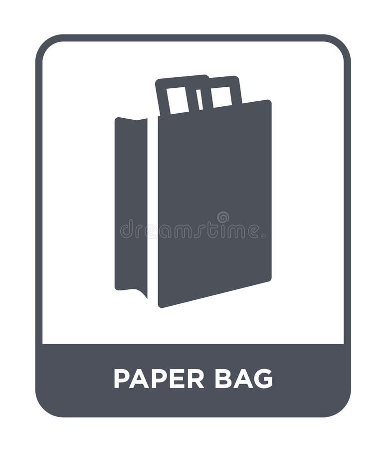 ícone do saco de papel no estilo na moda do projeto ícone do saco de papel isolado no fundo branco plano simples e moderno do íco ilustração royalty free
