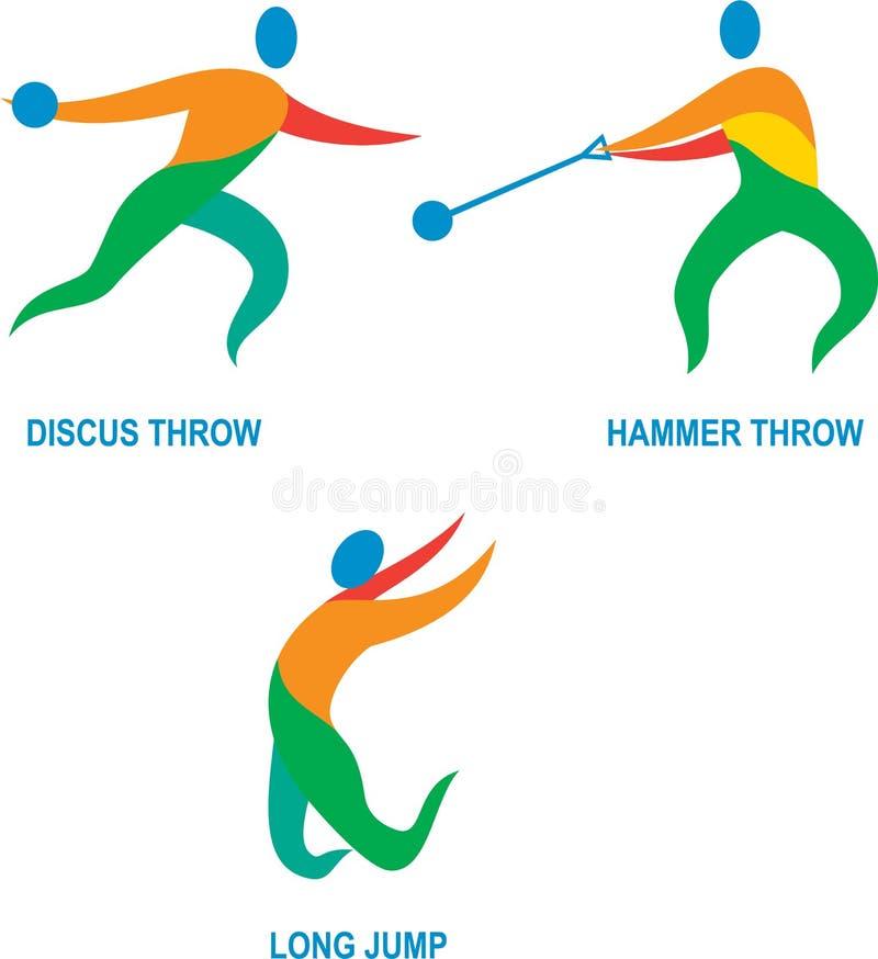 Ícone do salto longo de lance de disco do lance de martelo ilustração royalty free