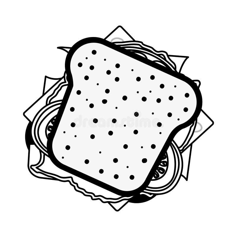 ícone do sanduíche do presunto e do vegetal da silhueta ilustração royalty free