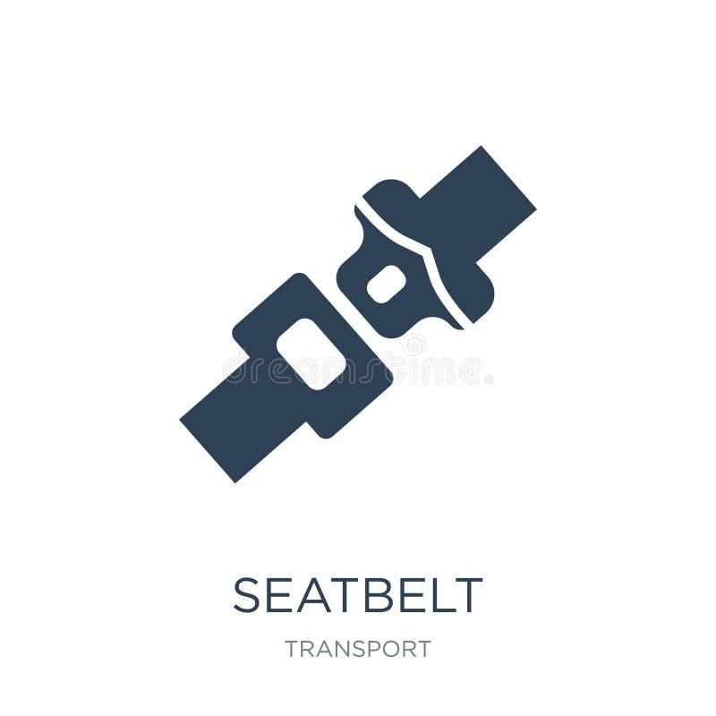 ícone do seatbelt no estilo na moda do projeto ícone do seatbelt isolado no fundo branco plano simples e moderno do ícone do veto ilustração do vetor