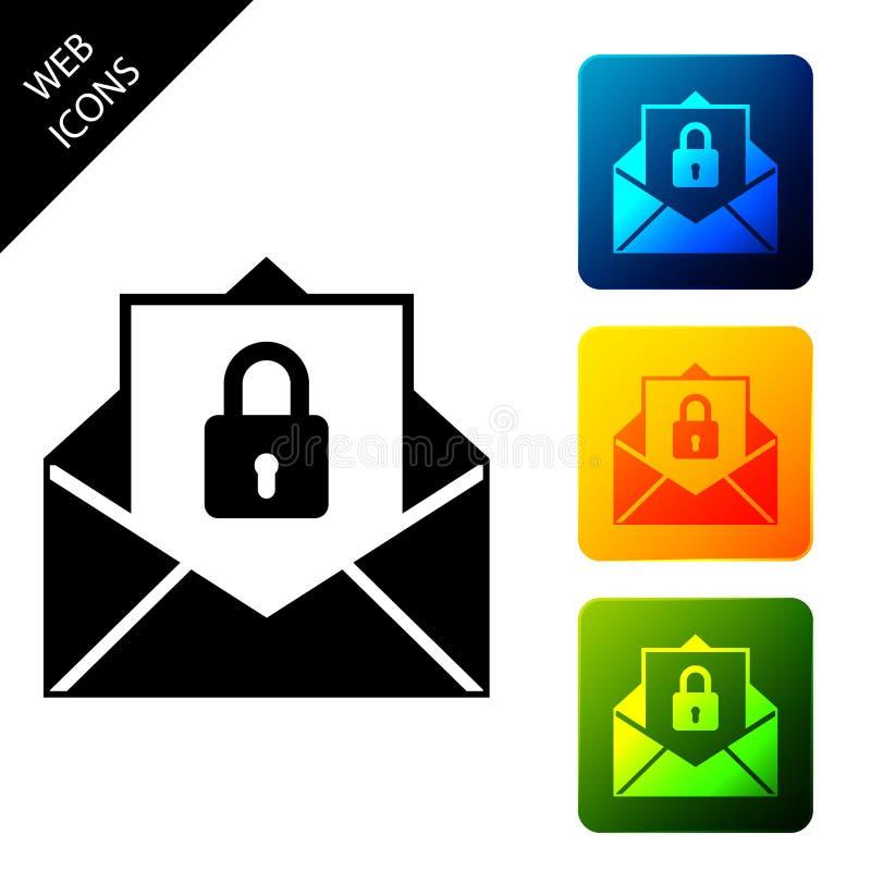 Ícone do Secure mail isolado Envelope de correspondência bloqueado com cadeado Definir ícones com botões quadrados coloridos ilustração stock