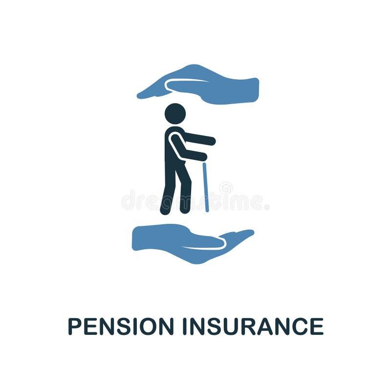 Ícone do seguro da pensão no projeto de duas cores Linha ícone do estilo da coleção do ícone do seguro UI e UX Pensi superior per ilustração stock