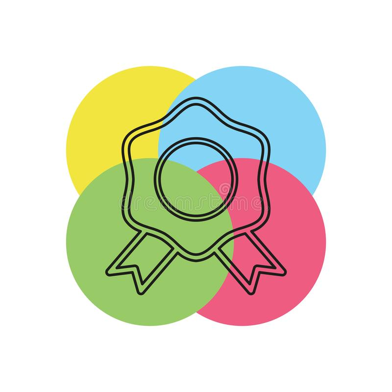 Ícone do selo da certificação - crachá da concessão do vetor ilustração do vetor
