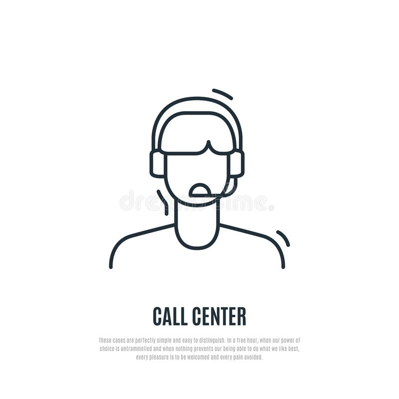 Ícone do serviço ao cliente Operador do centro do contato com fones de ouvido ilustração stock