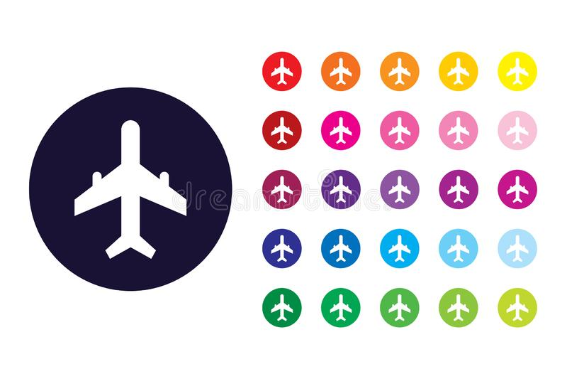 Ícone do sinal do avião Símbolo da cor do avião ilustração do vetor