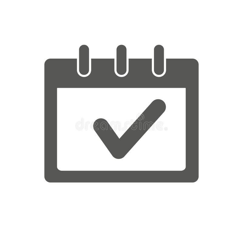 Ícone do sinal do calendário, ilustração do vetor Ícone do calendário do negócio Estilo liso do projeto Conceito do ícone do cale ilustração royalty free
