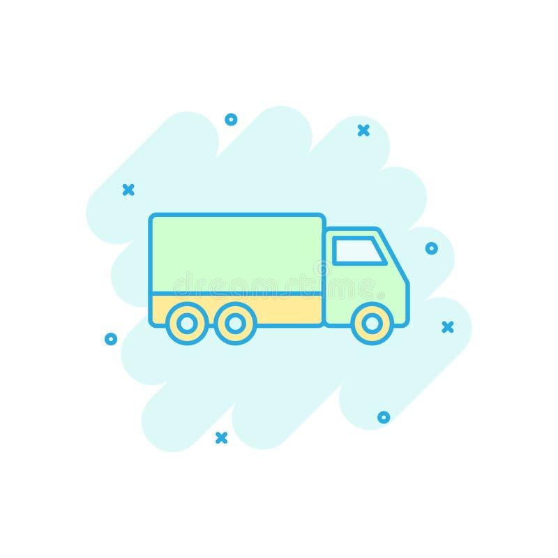 Ícone do sinal do caminhão de entrega no estilo cômico Ilustração dos desenhos animados de Van vetor no fundo isolado branco Conc ilustração stock