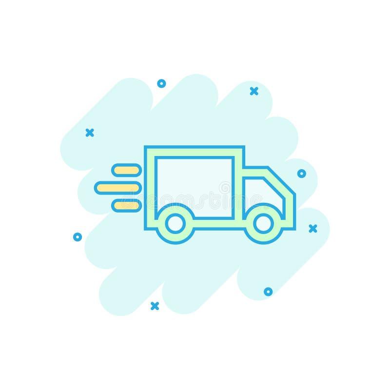 Ícone do sinal do caminhão de entrega no estilo cômico Ilustração dos desenhos animados de Van vetor no fundo isolado branco Conc ilustração do vetor