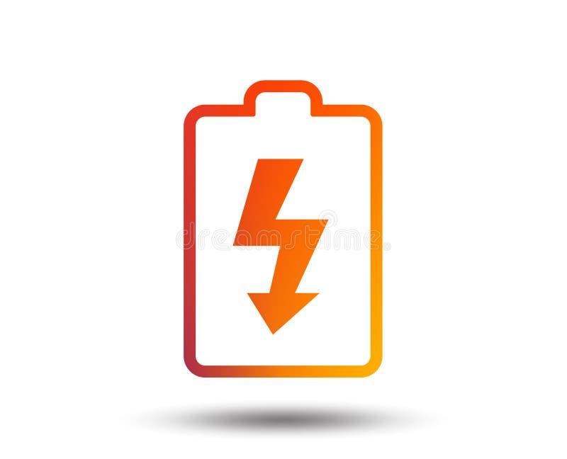 Ícone do sinal do carregamento de bateria Símbolo do relâmpago ilustração do vetor