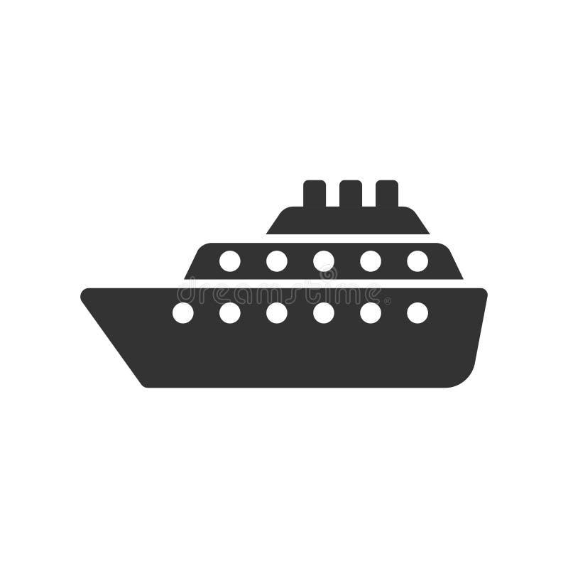 Ícone do sinal do cruzeiro do navio no estilo liso Ilustração do vetor do barco de carga no fundo isolado branco Conceito do n ilustração royalty free