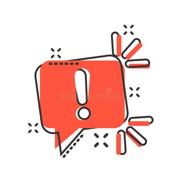 Ícone do sinal da atenção no estilo cômico Ilustração de advertência dos desenhos animados do vetor da bandeira no fundo isolado  ilustração do vetor