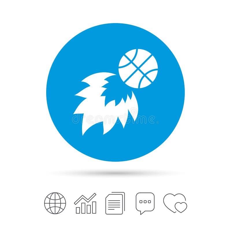 Ícone do sinal da bola de fogo do basquetebol Símbolo do esporte ilustração royalty free