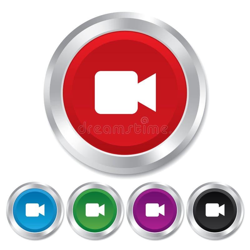 Ícone do sinal da câmara de vídeo. Botão satisfeito video. ilustração stock