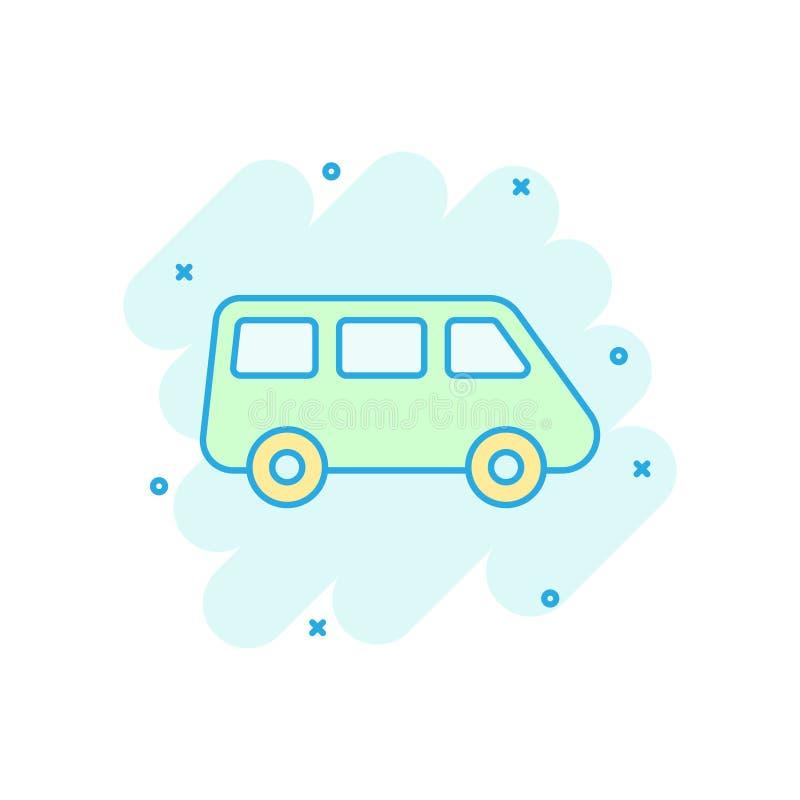 Ícone do sinal da carrinha do passageiro no estilo cômico Ilustração dos desenhos animados do vetor do ônibus do carro no fundo i ilustração do vetor