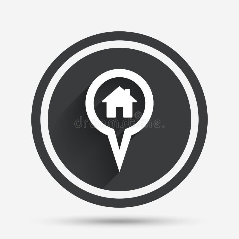Ícone do sinal da casa do ponteiro do mapa Símbolo do marcador ilustração royalty free