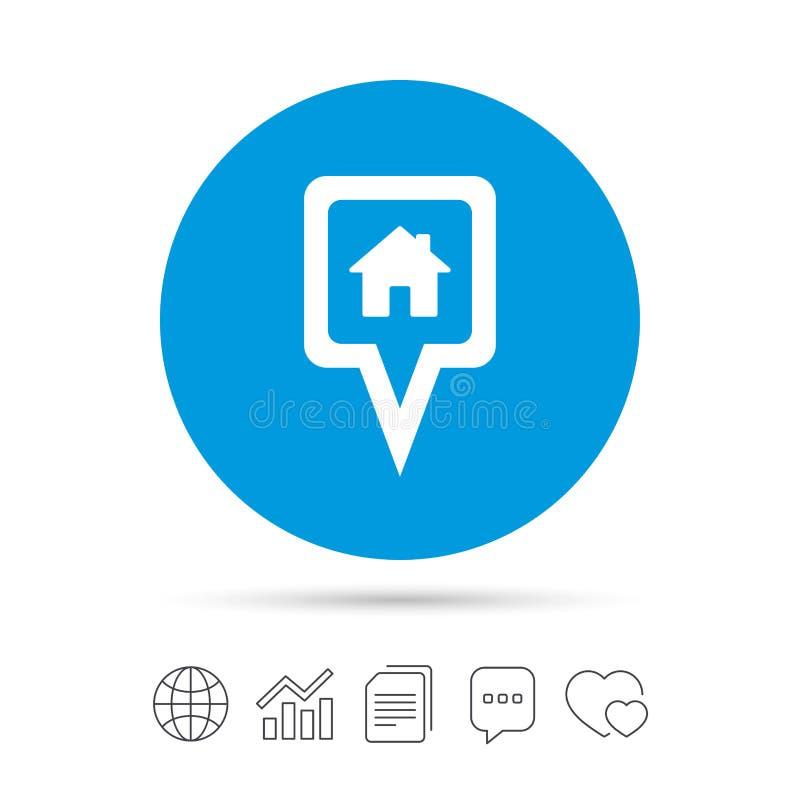 Ícone do sinal da casa do ponteiro do mapa Símbolo do marcador ilustração stock
