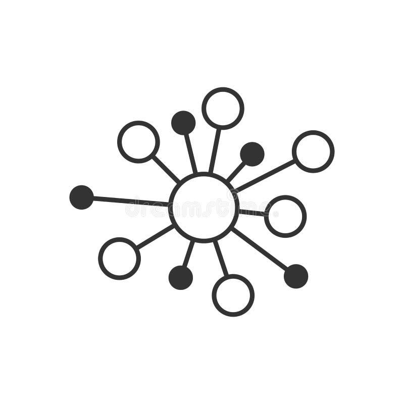 Ícone do sinal da conexão de rede do cubo no estilo liso Ilustração do vetor da molécula do ADN no fundo isolado branco Neg ilustração do vetor