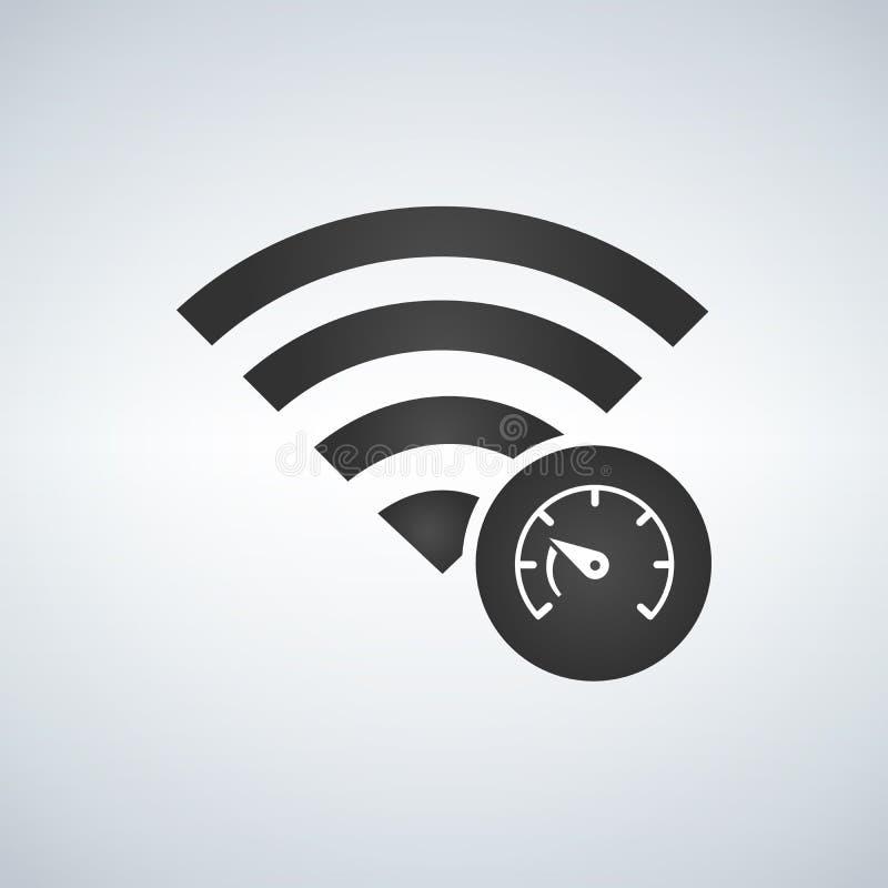 Ícone do sinal da conexão de Wifi com ícone do teste de velocidade no círculo ilustração royalty free