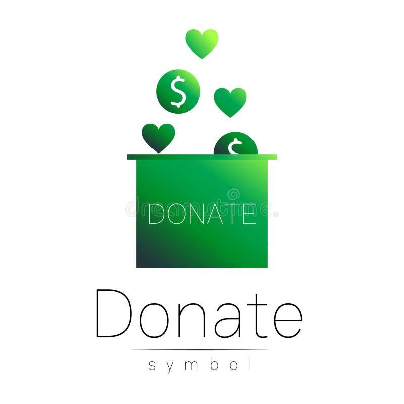Ícone do sinal da doação Doe a caixa e o coração de dinheiro Símbolo da caridade ou da doação Ajuda humana No fundo branco Vetor ilustração royalty free