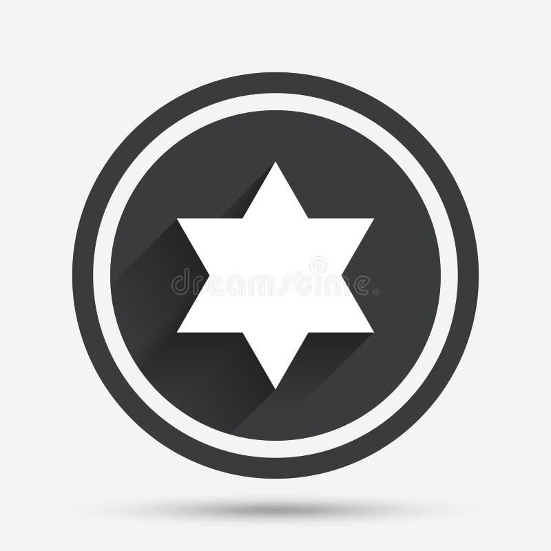 Ícone do sinal da estrela de David Símbolo de Israel ilustração stock