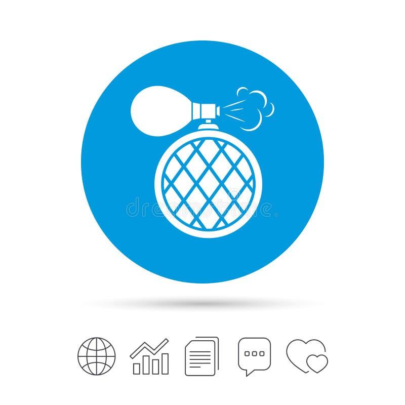 Ícone do sinal da garrafa de perfume Fragrância do encanto ilustração stock