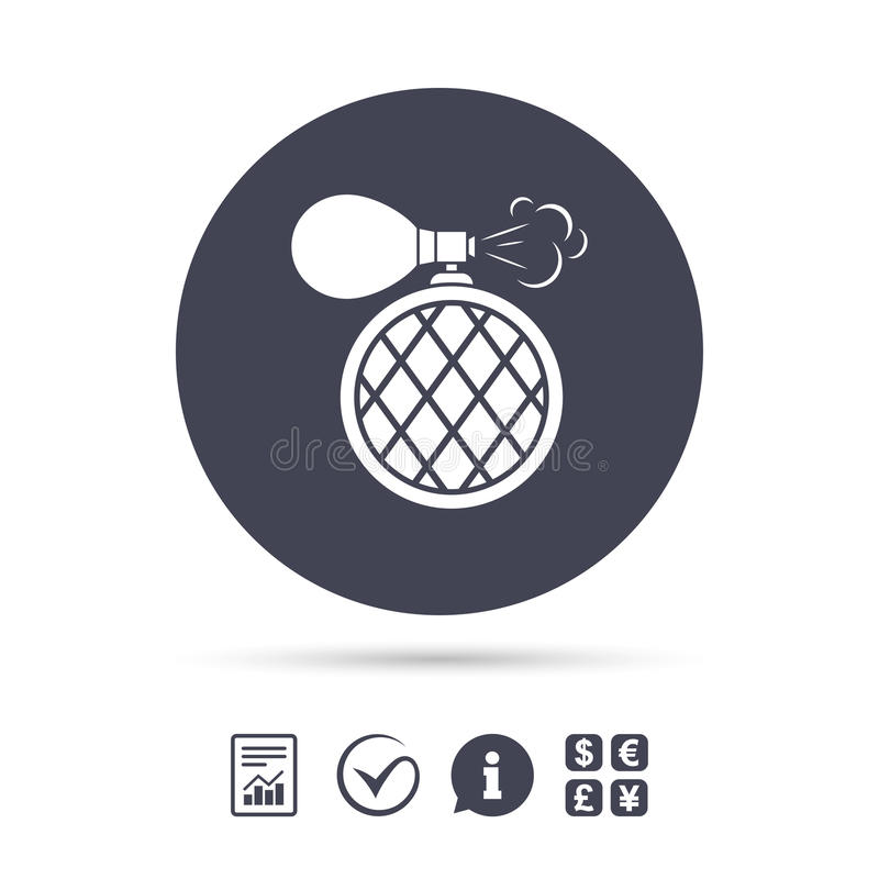 Ícone do sinal da garrafa de perfume Fragrância do encanto ilustração royalty free