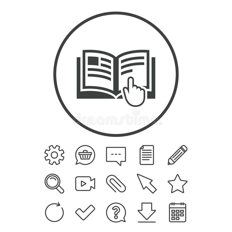 Ícone do sinal da instrução Símbolo manual do livro ilustração stock