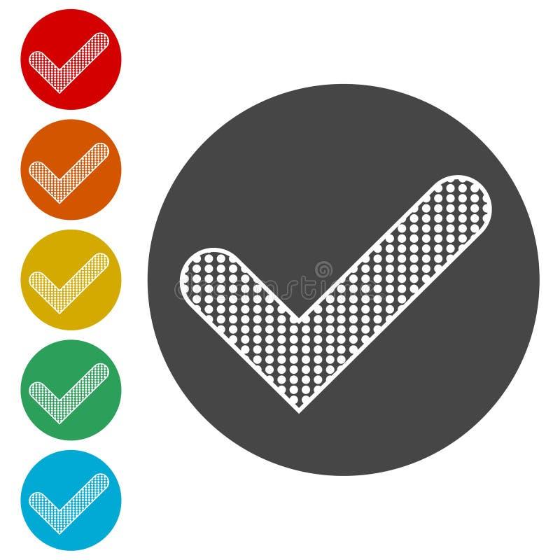 Ícone do sinal, ícone da marca de verificação - ilustração stock