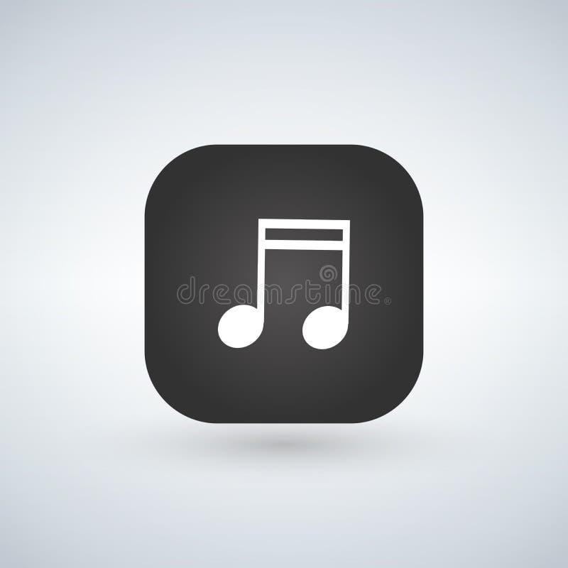 Ícone do sinal da nota da música ou símbolo musical sobre o botão da aplicação Ilustração do vetor ilustração royalty free
