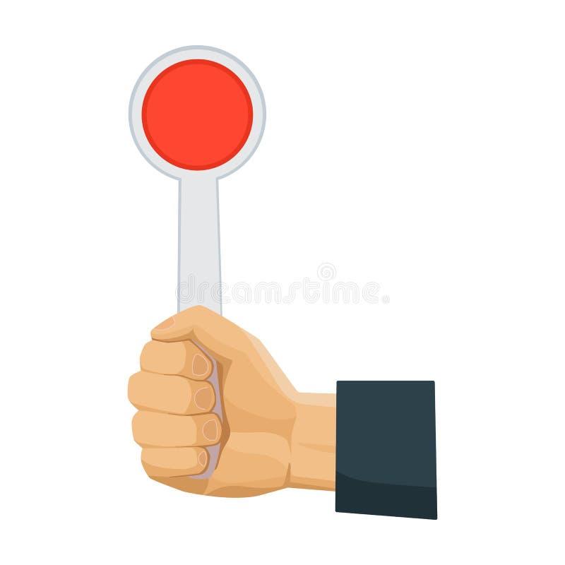 Ícone do sinal da parada da terra arrendada da mão no estilo dos desenhos animados isolado no fundo branco Ilustração do vetor do ilustração stock