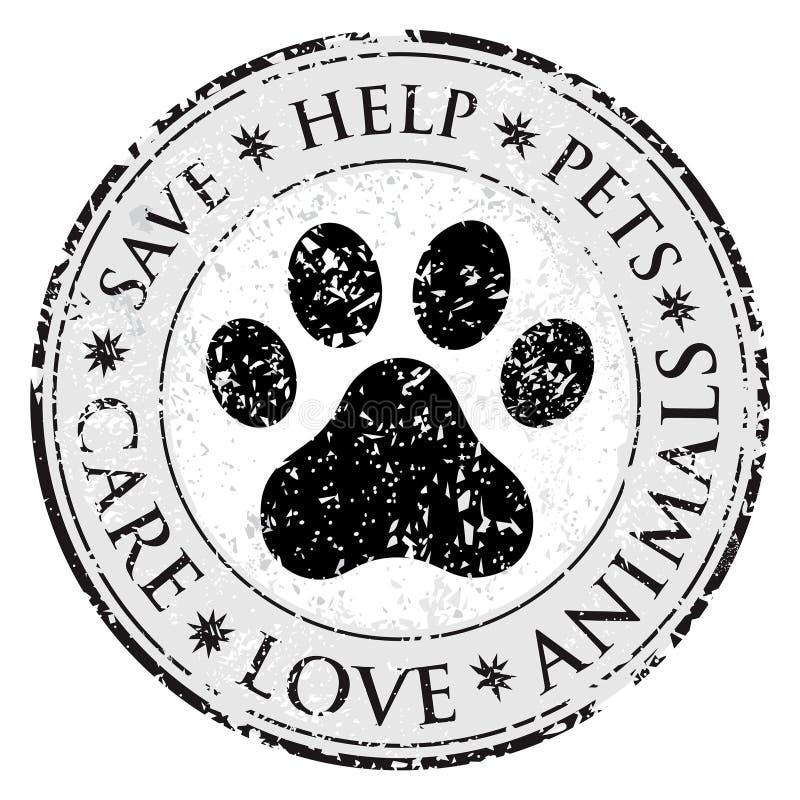 Ícone do sinal da pata do cão Pets o símbolo Botão textured sujo da Web Selo do cargo do Grunge do vetor Bandeira ou etiqueta do  ilustração royalty free