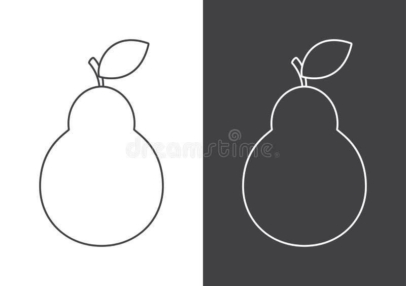 Ícone do sinal da pera no fundo branco e cinzento ilustração stock