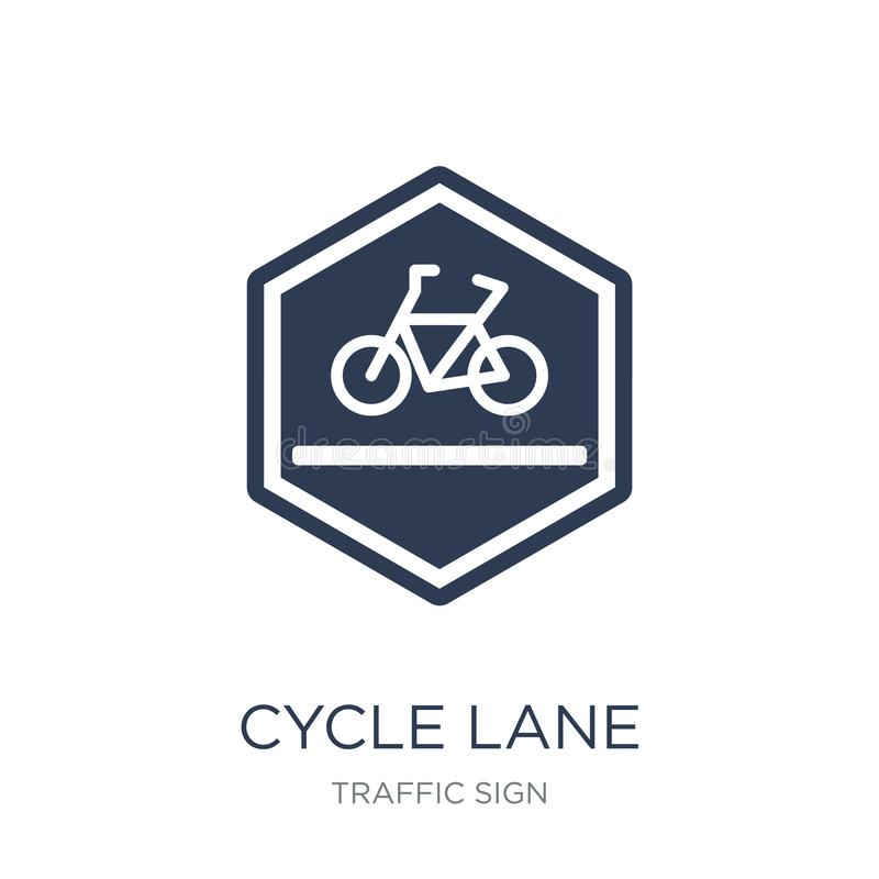 Ícone do sinal da pista do ciclo Ícone liso na moda do sinal da pista do ciclo do vetor sobre ilustração stock