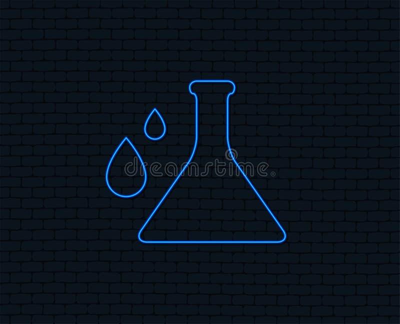 Ícone do sinal da química Símbolo do bulbo com gotas ilustração royalty free