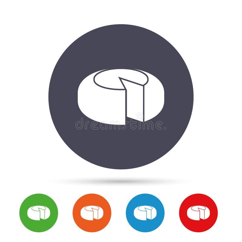 Ícone do sinal da roda do queijo Queijo cortado ilustração royalty free