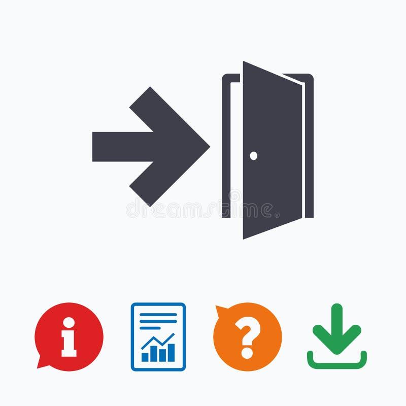 Ícone do sinal da saída de emergência Porta com seta direita ilustração royalty free