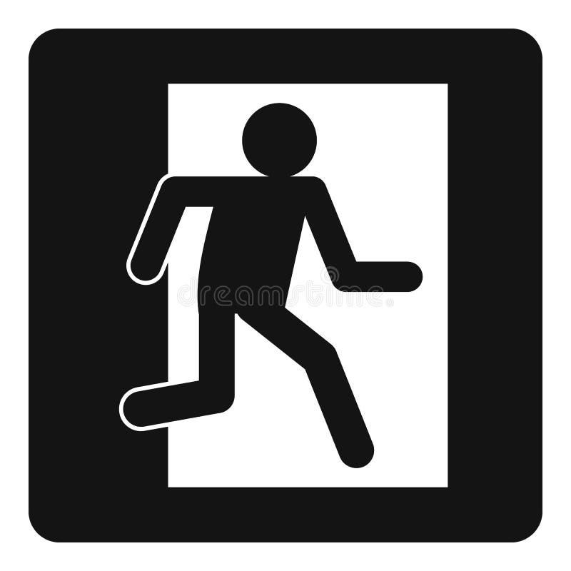 Ícone do sinal da saída de emergência simples ilustração do vetor