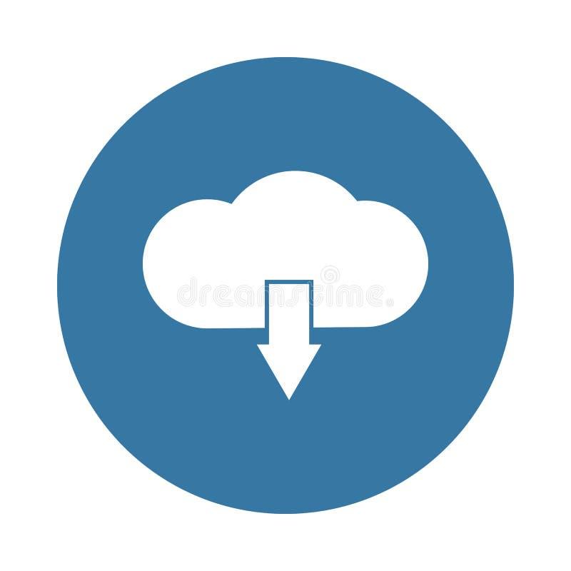 ícone do sinal da transferência da nuvem no estilo do crachá ilustração stock