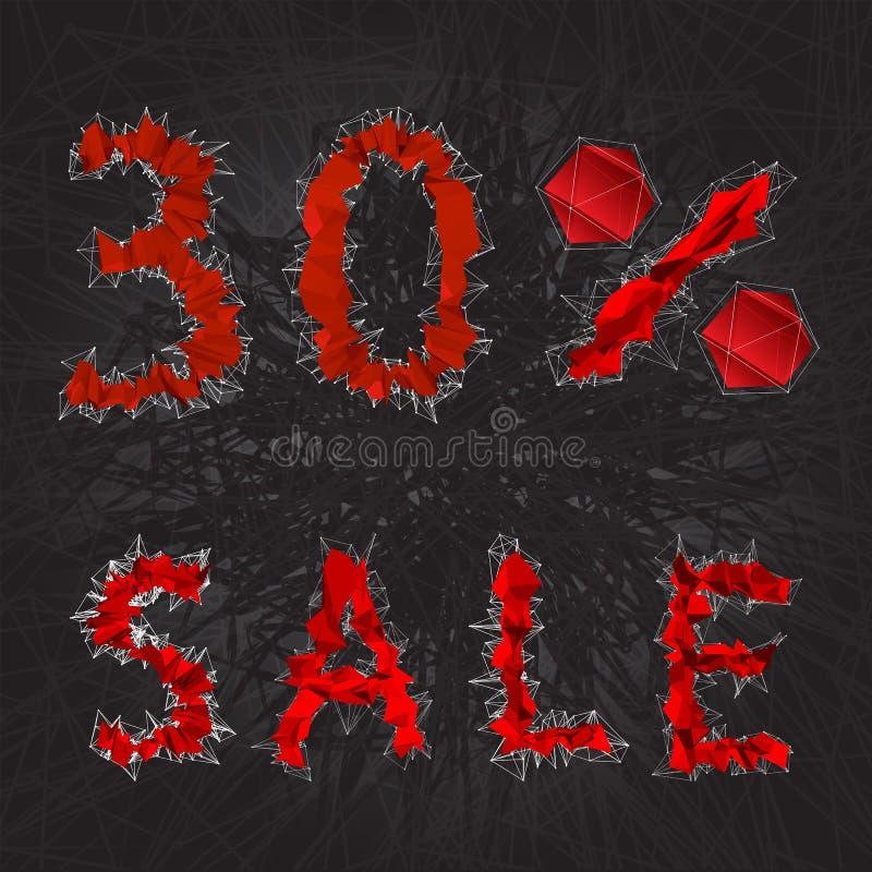 ícone do sinal da venda de 30% Símbolo do disconto Venda de Black Friday, estação d ilustração do vetor