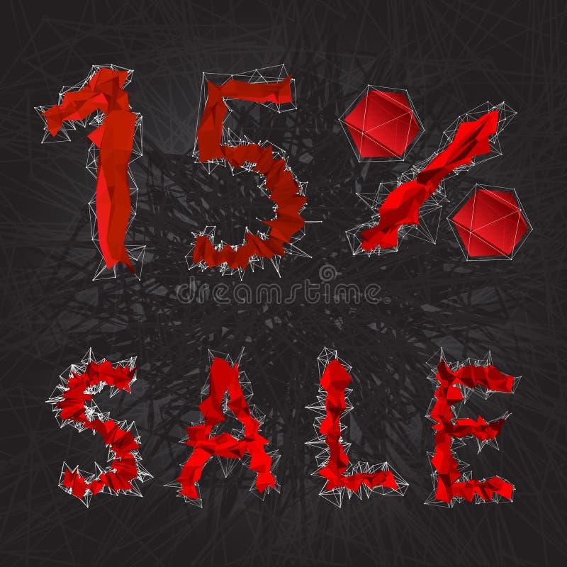 ícone do sinal da venda de 15% Símbolo do disconto Venda de Black Friday, estação d ilustração royalty free