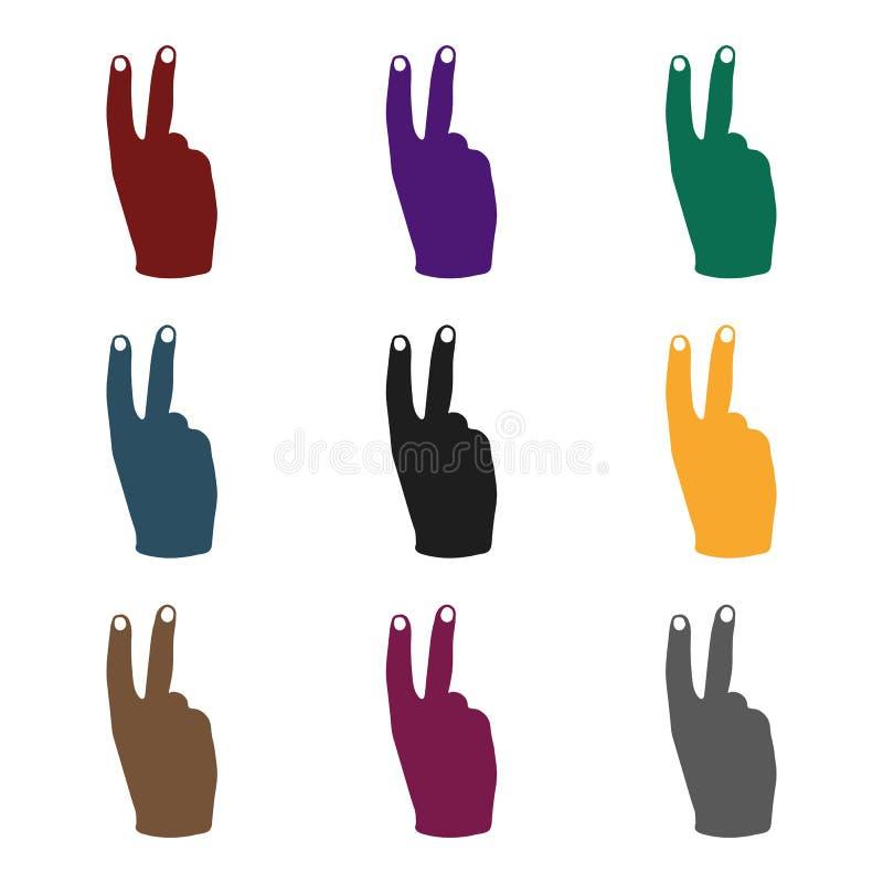 Ícone do sinal da vitória no estilo preto isolado no fundo branco Ilustração do vetor do estoque do símbolo dos gestos de mão ilustração do vetor
