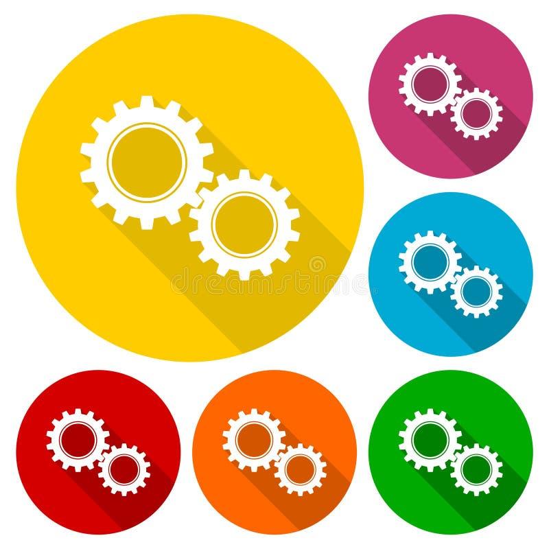 Ícone do sinal das engrenagens ilustração stock