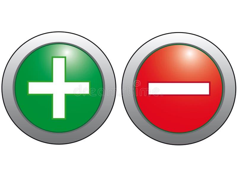 Ícone do sinal de adição e menos. ilustração stock