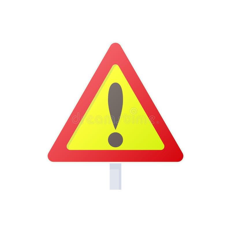 Ícone do sinal de aviso, estilo dos desenhos animados ilustração stock