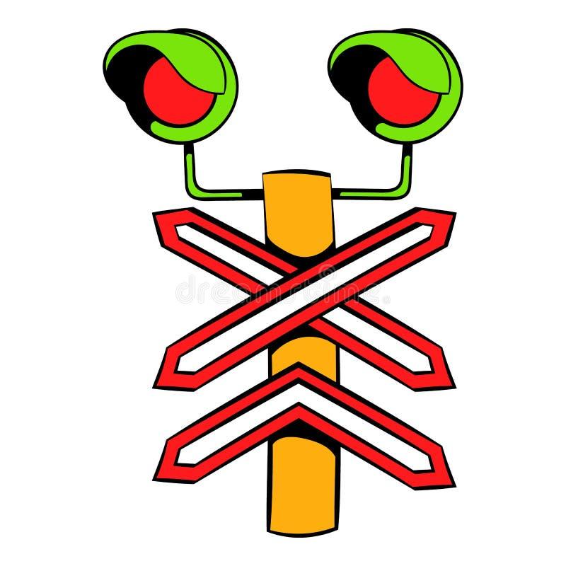 Ícone do sinal de cruzamento do trilho, desenhos animados do ícone ilustração royalty free