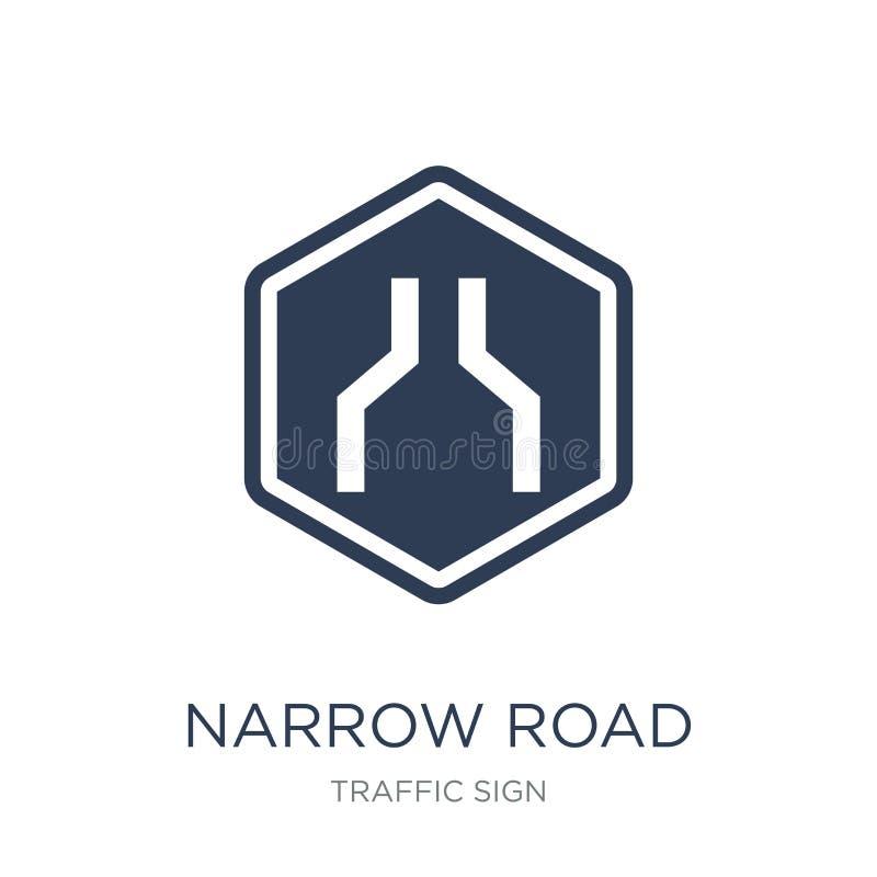 Ícone do sinal de estrada estreita Ícone liso na moda do sinal de estrada estreita do vetor ilustração stock