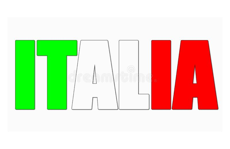 Ícone do sinal de Italia com cores italianas da bandeira ilustração royalty free