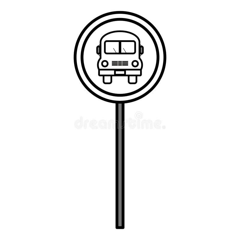 Ícone do sinal de tráfego da parada do ônibus ilustração do vetor