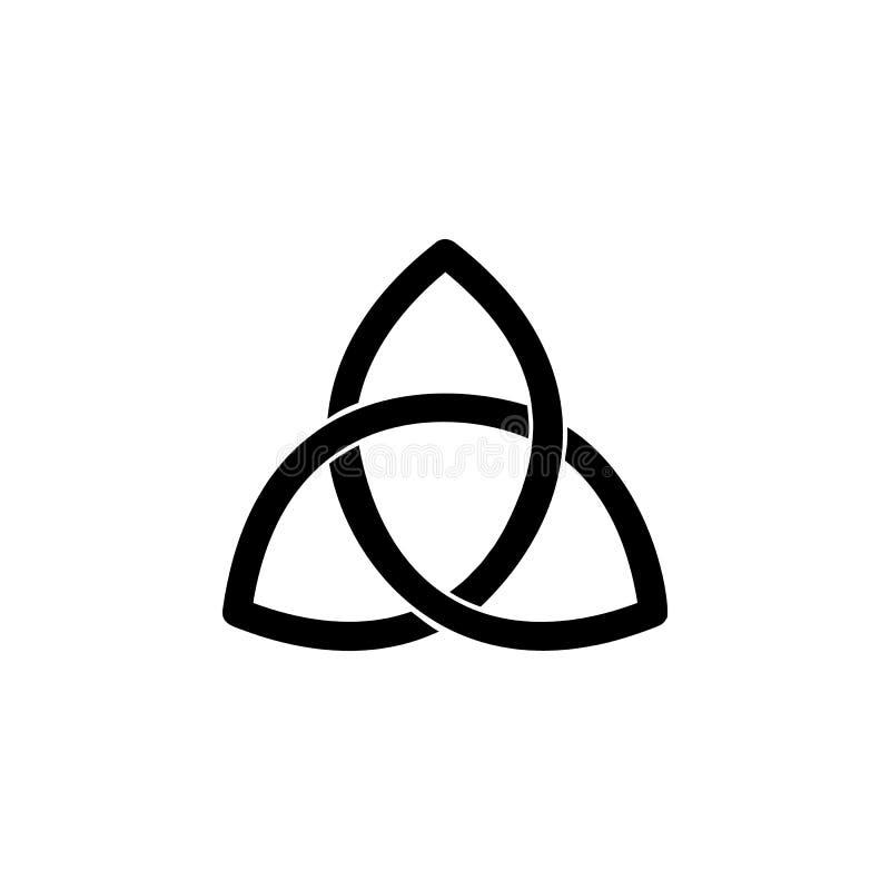 Ícone do sinal de Triquetra do paganismo Elemento do ícone do sinal da religião para apps móveis do conceito e da Web O ícone det ilustração do vetor